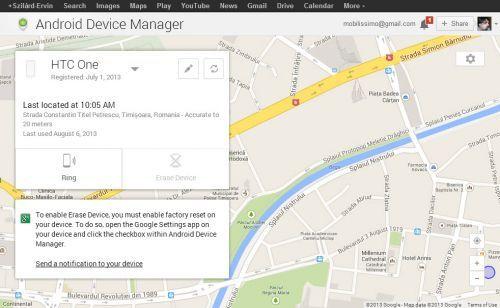 Android Device Manager e acum disponibil, poţi verifica poziţia terminalului de pe desktop