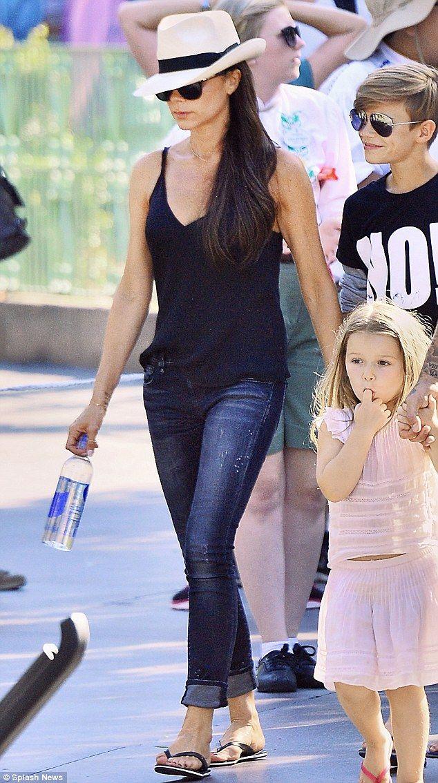 Victoria Beckham - black cami + R13 jeans.. Harper Beckham - Marie Chantal Spring 2015 two piece..