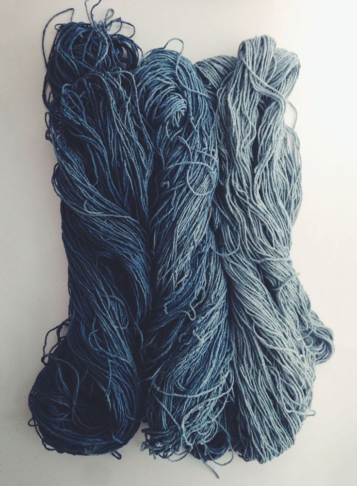 rdtextiles:  hand dyed indigo from my recent fermentation vat.  silk noil skeins with a soft gradient