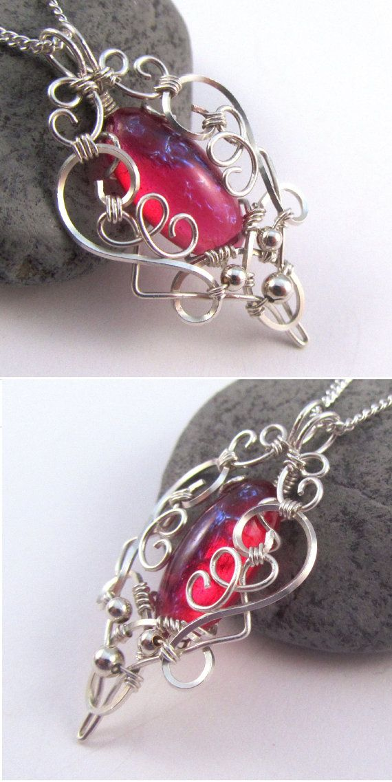 Dragon's Breath Fire Opal Pendant - Silver Wire Wrapped Necklace - Medieval Elven Elvish Jewelry - Heart of Dragon