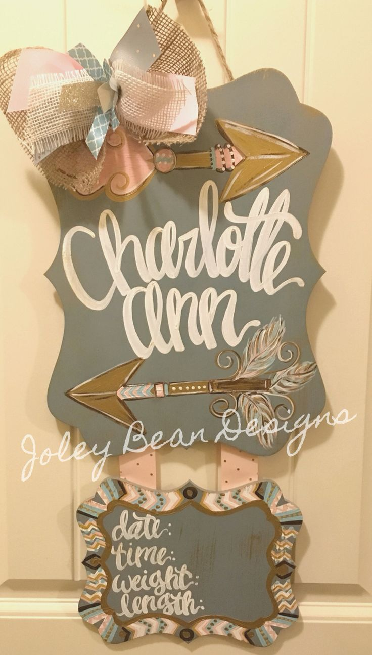 Joley Bean Designs, arrows, girl, nursery, baby door hanger