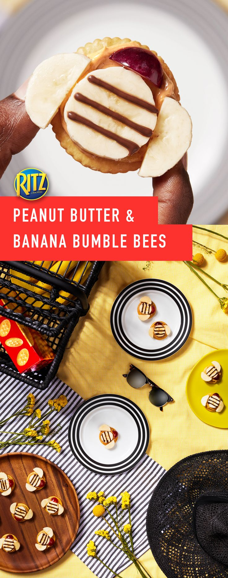 Spring is in the air and that means it's time for family picnics! These Peanut Butter and Banana Bumble Bees will make your family picnic moments special! To make: Spread peanut butter on to crackers, top with 1 banana slice. Spoon chocolate spread into resealable plastic bag, cut hole in bottom corner of bag. Use to pipe horizontal lines onto banana slices for bee body. Cut remaining banana slices on crackers for wings, grapes for head. You've got the stuff to make life rich.