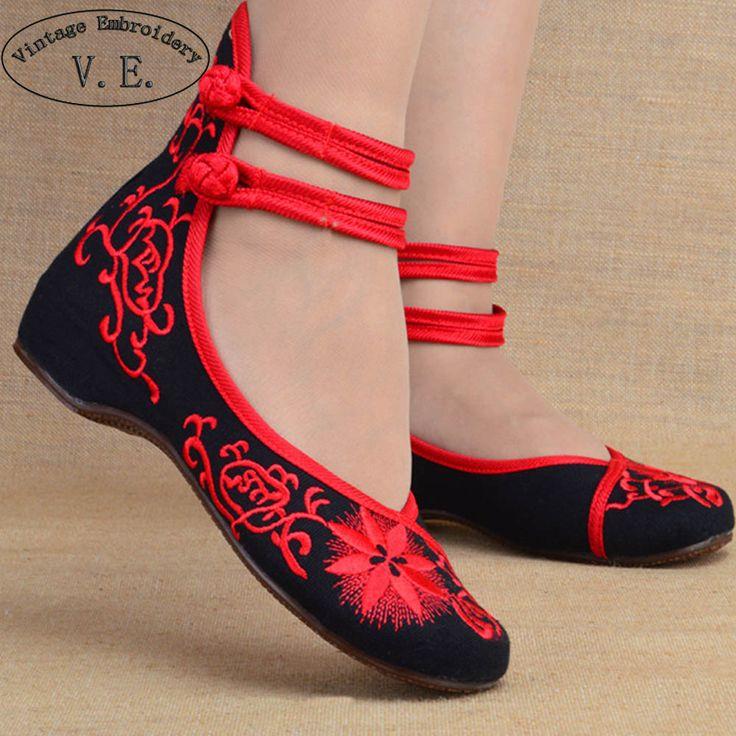 Mode Vrouwen Schoenen Oude Beijing Mary Jane Flats Casual Schoenen Chinese Geborduurde Doek Vrouw Ballerina Schoenen Plus Size 41