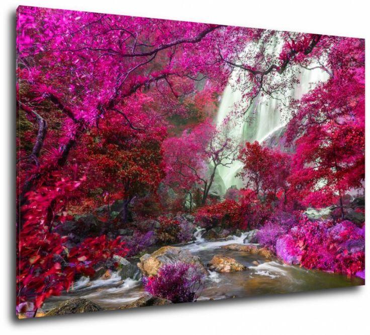 Obraz wodospad w lesie