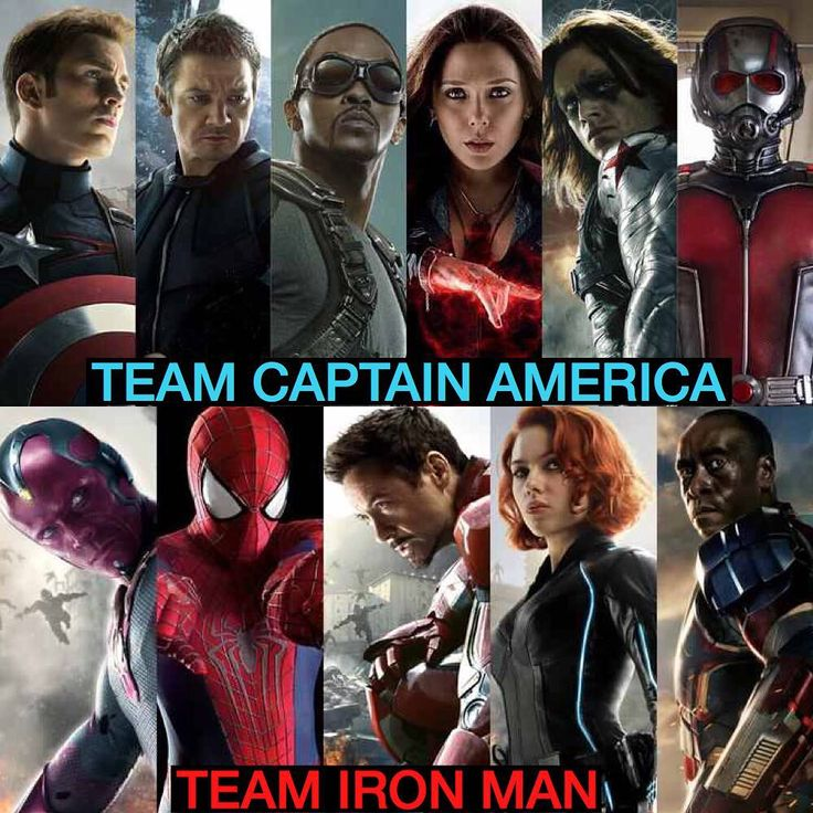 Official Team Iron Man & Team Captain America Sides In 'Civil War' REVEALED! _ _  TEAM #CAPTAINAMERICA  1) Captain America 2) Hawkeye 3) Falcon 4) Scarlet Witch 5) Ant-Man 6) The Winter Soldier  TEAM #IRONMAN  1) Iron Man 2) The Vision 3) Spider-Man 4) Black Widow 5) War Machine Who said are you on?
