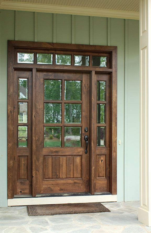 Oconee TDL Single Knotty Alder Door W/ Sidelights And Clear Beveled Glass