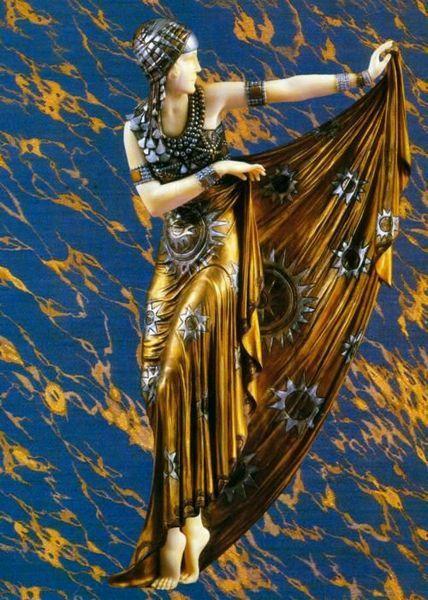 art deco statuette danse doree