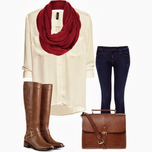 Red scarf, white shirt, brown long boots, jeans and handbag combination for fall
