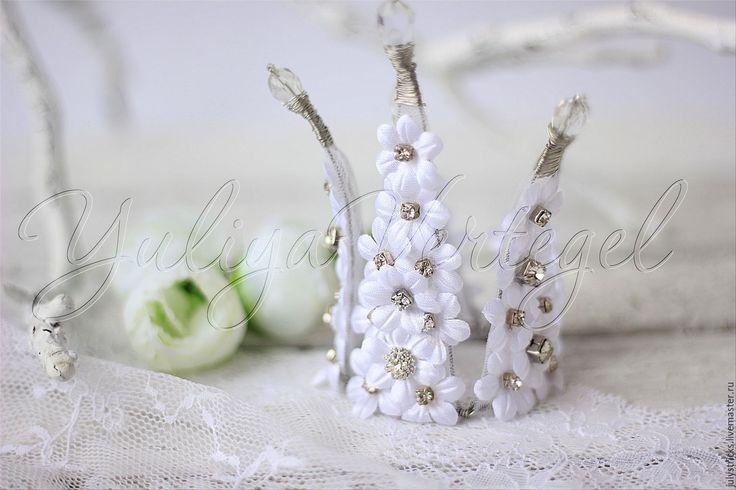 Купить Свадебная корона из цветов. Цветочная корона. Белая корона. - белый, свадебная корона