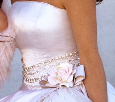 Close up of Blush gown, Allure Couture by Luisa Manea