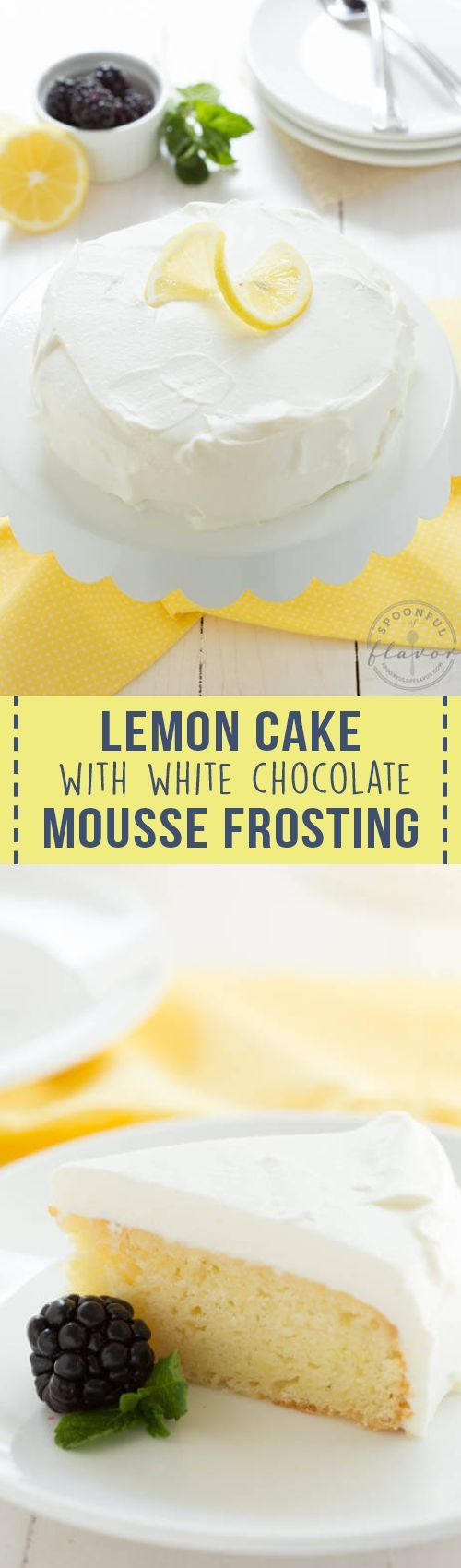 Lemon Cake with White Chocolate Mousse Frosting is baked in a 6-inch round cake pan and topped with white chocolate mousse, this lemon cake is an impressive small cake perfect for two people!