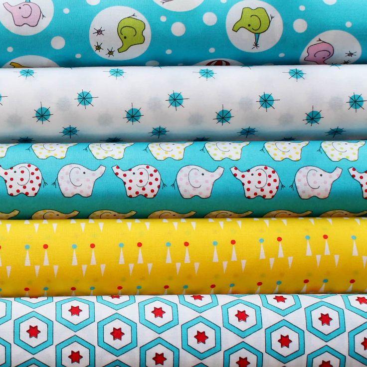 BACKYARD CIRCUS BLUE - FQ Bundle of 5 - Ella Blue Fabrics