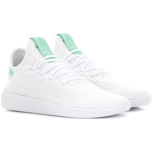 adidas Originals = Pharrell Williams Tennis Hu Mesh Sneakers (160 SGD) ❤ liked on Polyvore featuring shoes, sneakers, white, adidas originals, tennis shoes, adidas originals trainers, mesh trainers and white tennis sneakers