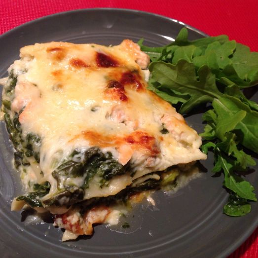 Spinach salmon lasagna   a taste of France