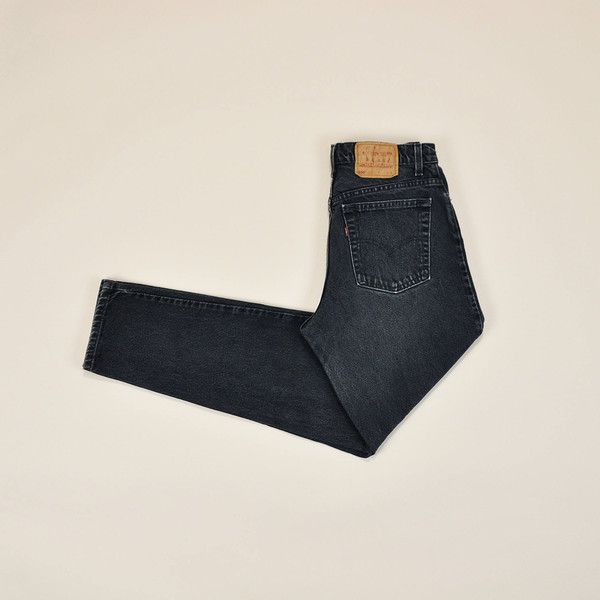 Faded Black Levis Jeans, Vintage 90s Levis, High Waisted Levi Jeans,... (120 BAM) ❤ liked on Polyvore featuring jeans, destroyed jeans, high rise jeans, high rise ripped jeans, relaxed fit jeans and stretch jeans