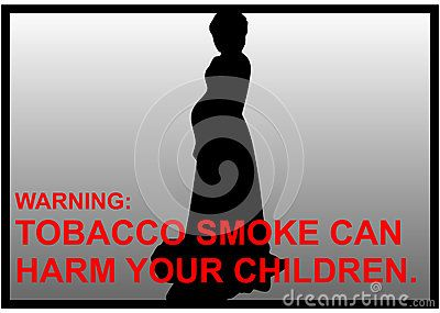 Vector anti-smoking warnings of a pregnant women silhouette.