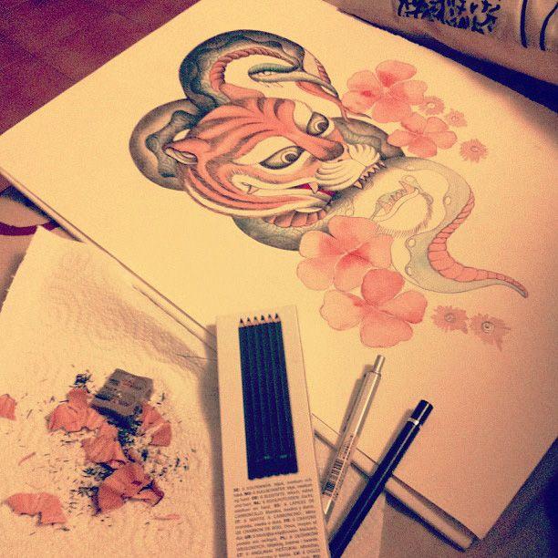 #elementedenartsearch #watercolur #pen #pencil #study #tattoo #oldschool #tiger #snake
