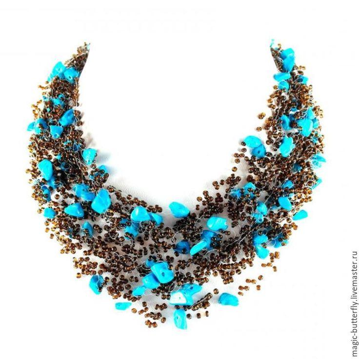 Купить Голубые бусы из бирюзы и бисера «Тихая гавань» - комбинированный, бусы из бирюзы