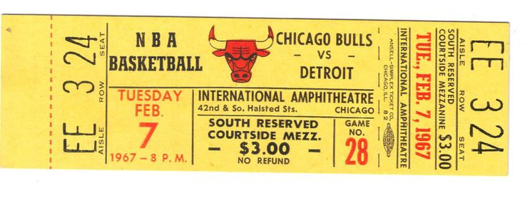 full #NBA ticket #Chicago bulls first season 1966 67 #Detroit pistons debusschere from $12.95