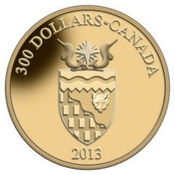Royal Canadian Mint $300 2013 14Kt Gold Coin - Territorial Coat of Arms - Northwest Territories $2649.95