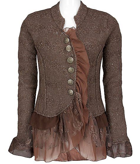 I will be looking in my closet for a jacket to modify like this!  I LOVE it!