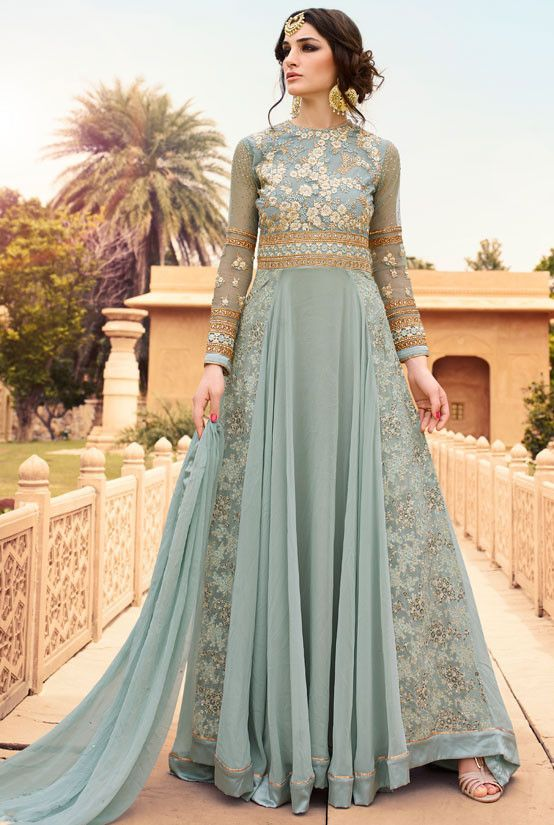 Anarkali Style Grey with Embroidery Work Salwar Kameez ,Indian Dresses - 1