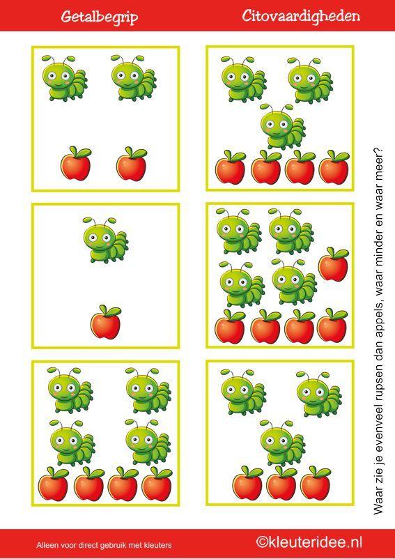 Citovaardigheden voor kleuters, kleuteridee.nl , meten en getalbegrip, Waar zie je evenveel, waar meer en waar minder rupsen dan appels 1 , rekenen voor kleuters met veel lessuggesties