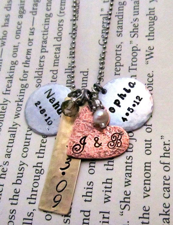 Custom Mom Necklace  Personalized Jewelry by FiredUpLadiesHammer, $32.00 I want one like this