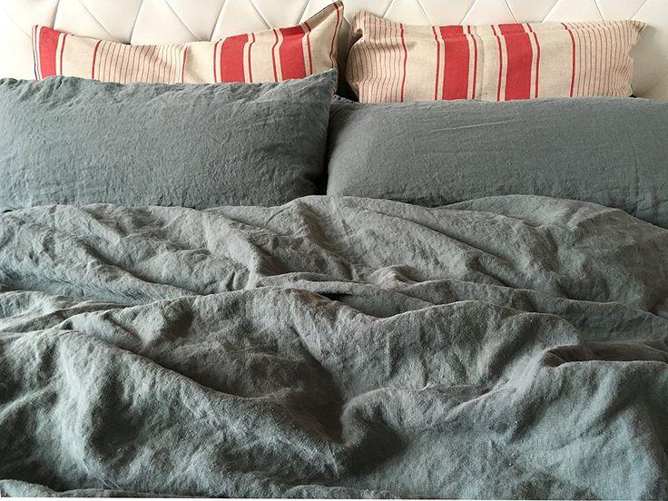 jowollina natur leinen stonewashed bettw sche set 135x200 cm 80x80 cm mausgrau. Black Bedroom Furniture Sets. Home Design Ideas