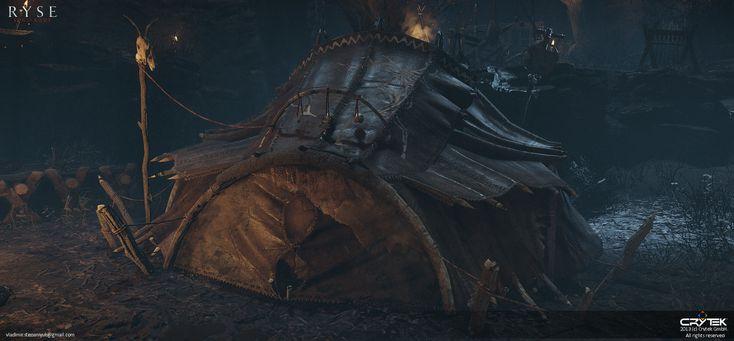 Barbarian tents, Volodymyr Stepaniuk on ArtStation at https://www.artstation.com/artwork/barbarian-tents