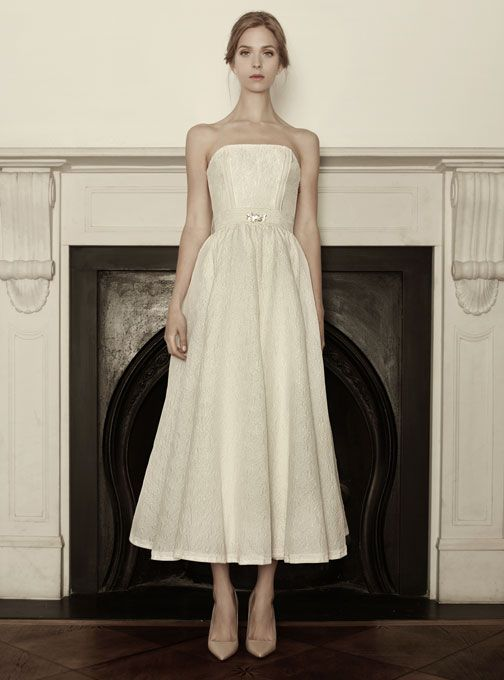"Sophia Kokosalaki -  ""Eirene"" strapless tea-length embroidered silk A-line wedding dress with a crystal detail on the belt"