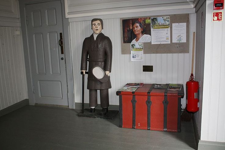 The wooden poorboy (vaivaisukko in Finnish) in the entrance to the Multia Church, Finland. This offertory box was made in 1835.