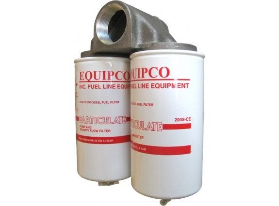 """1 1/2"""" BSP high flow fuel filter.10 micron rated elements, 134 LPM max"""