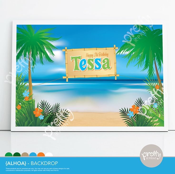Printable Dessert Table Party Backdrop Hawaiian Luau Aloha Tropical Beach www.prettyandprint.com/blog www.etsy.com/shop/prettyandprint