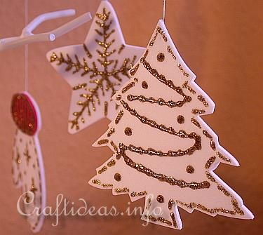 Fun Foam Christmas ornament with cookie cutters