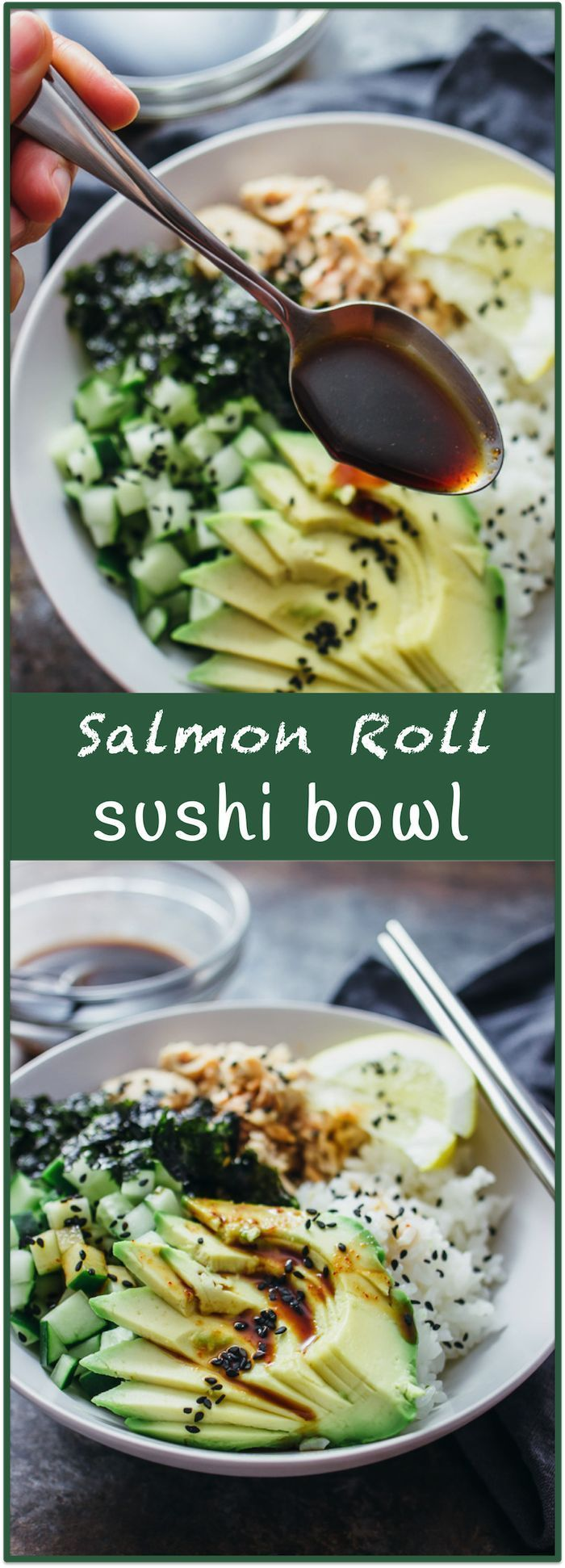 Salmon roll sushi bowl - Imagine your favorite sushi roll (California roll? Tuna roll? Dynamite roll?) — in a bowl. Almost everything tastes better in bowl form (think burritos) and sushi is no exception. This delicious sushi bowl recipe includes salmon, sliced avocado, diced cucumber, crumbled seaweed, and toasted sesame seeds. Best yet, there's an easy-to-make spicy dressing made of soy sauce, sriracha, and a hint of lemon. - savorytooth.com