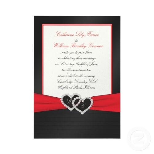 Black Satin Pleats with Hearts Monogram Invitation invitation