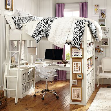 I love how the desk is underneath, the open bookshelves on one end and the pin board on the side. I can probably convert our loft to look like this.