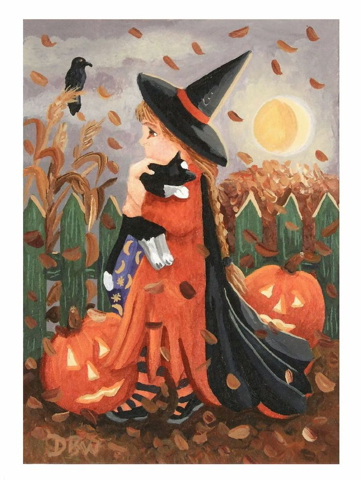 ACEO Original ACEO acrylic painting folk art Halloween cat pumpkin moon costume Donna Beilstein Warren