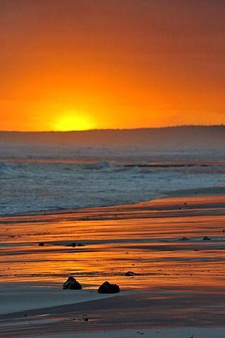 Sunset on the beach, Menorca, Balearic Islands, Spain.