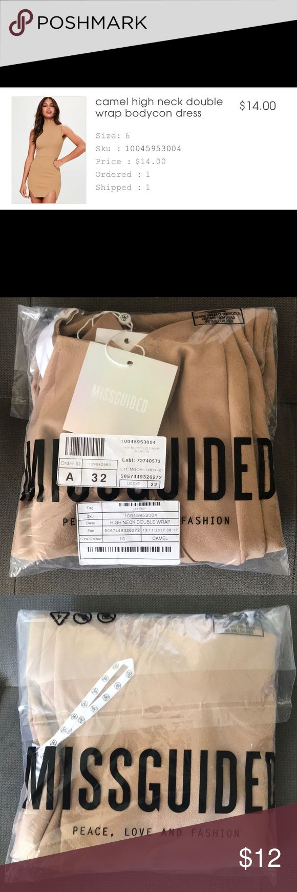 MissGuided dress high neck (double wrap) Size 10 Size 10 color camel Missguided Dresses Mini