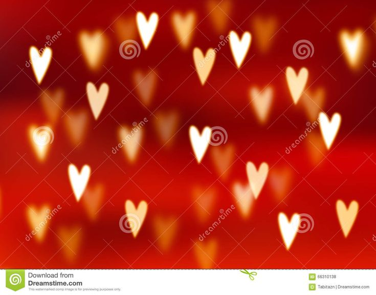 Abstract Red Background With Golden Heart Shaped Bokeh Lights