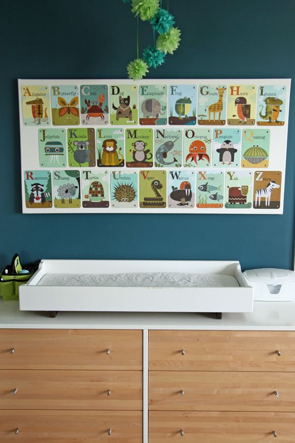Pretty cool idea for children's wall art, flash cards stuck onto a plain white canvas. Could also probably make them into bunting.
