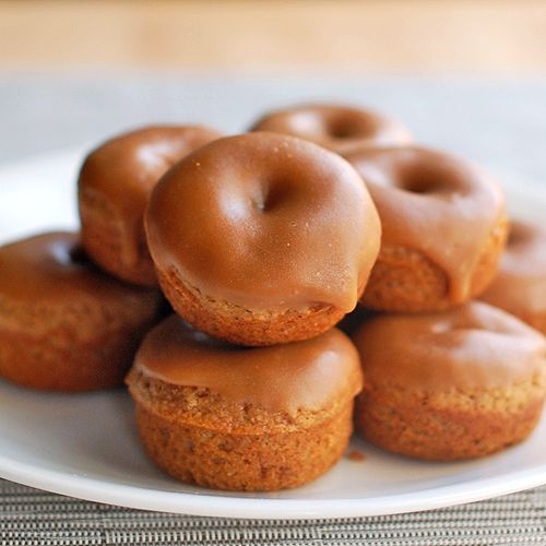Baked gingerbread donuts with old fashioned caramel frosting