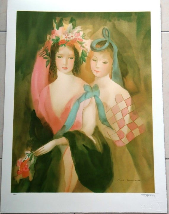 Marie Laurencin Lithograph Harlequin Costume Blue Ribbons Baby