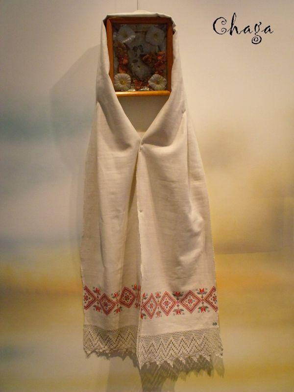Wystawa ręcznika obrzędowego w muzeum w Bielsku Podlaskim.