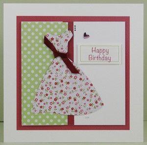 Handmade Floral Dress Birthday Card - www.threedotcards.co.uk