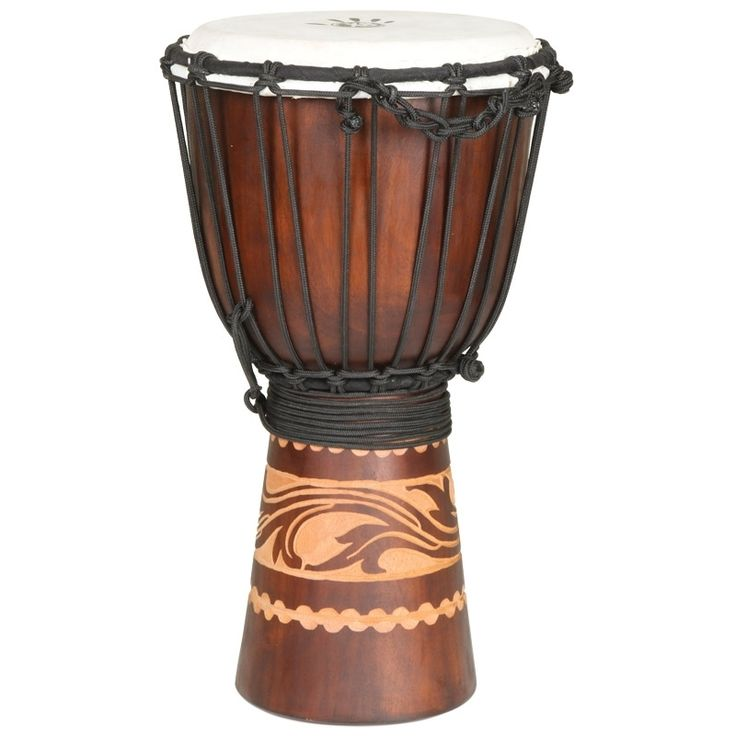 Tambor de Indonesia en bodega Miami, entrega 7 a 10 días #Colombia - Solicitar cotizacion: norlu333@hotmail.com This Kalimantan djembe is a great drum for the beginner or intermediate player. It is made of solid  Mahogany hardwood featuring a hand-carved Kalimantan Tattoo Gryphon Bird design. A top quality goatskin drum head is secured with braided alpine rope.