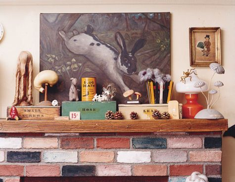 Amy Sedaris' mantel. (@Matthew Golub, I feel like we're working towards this. Although it would help if we had a mantel. We need a mantel. Get on dat shit.)