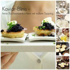 Die Wachteleier halbieren. Blinis auf einer Platte mit jeweils etwas Kaviar, einigen Zwiebelringen, Eihälften und Joghurt anrichten: Kaviar-Blinis – smarter mit Joghurt und Schnittlauch |http://eatsmarter.de/rezepte/kaviar-blinis-smarter